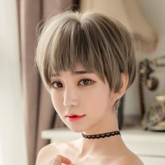 Single product: short hair 1101 wig Wig hairstyle: short straight hair Applicable object: Fashion female Hair material: high temperature wire Style: sweet and lovely Efficacy: Instantly change hairstyle Color classification: green wood linen gray Short Brown Hair, Very Short Hair, Short Straight Hair, Short Hair With Bangs, Short Hair Cuts, Short Blonde Haircuts, Short Hairstyles For Women, Hairstyles With Bangs, Straight Hairstyles