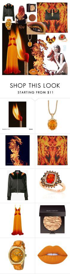 """""""fire"""" by beanpod ❤ liked on Polyvore featuring Givenchy, Paco Rabanne, LE VIAN, Rosie Assoulin, Laura Mercier, Invicta, Lime Crime and Gucci"""
