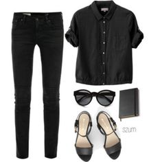 Black jeans and black short-armed shirt.