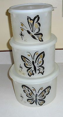 Vintage 1954 Tupperware Handolier Canister Set of 3 Millionaire Line Butterfly
