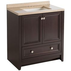 Glacier Bay Delridge 30 in. W Modular Vanity in Chocolate with Solid Surface Vanity Top in Caramel