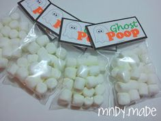 Ghost Poop!!! Mini marshmallows in a treat bag! How easy is that?!?!