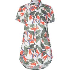 Onia 'Jesse' shirt dress ($255) ❤ liked on Polyvore featuring dresses, white, high low dresses, white shirt dress, floral shirt dress, hi low dress and floral print dress