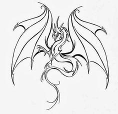Flying Dragon. Free tattoo stencil