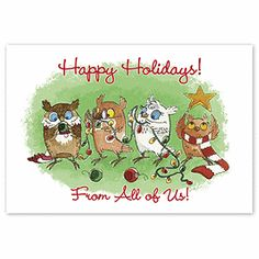 Holiday Owls Holiday Cards HP2308   Animal Christmas Cards   Deluxe