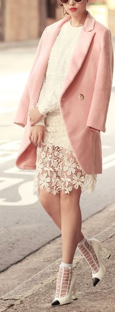 winter pastels and cage heels street style LBV