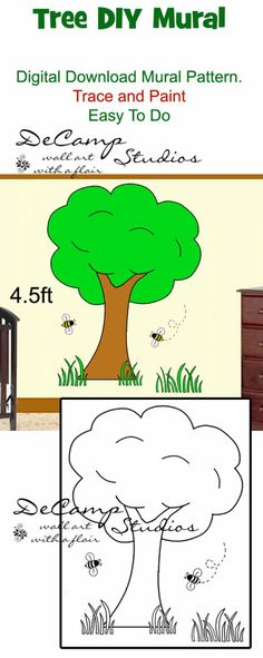 DIY Barnyard Tree Wall Art Mural Printable Pattern Download for baby boy or girl nursery or kids barnyard room decor. Do It Yourself Trace and Paint By Number. Also great for church nursery, childcare, pediatric office, and preschool #decampstudios