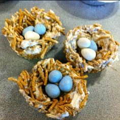 Nests made from fiber cereal and melted marshmallow and filled with chocolate eggs. Fun Easter treat!