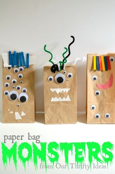 Paper Bag Monsters made by your kids. Way cute craft for the kids for Halloween. Paper Bag Monsters made by your kids. Way cute craft for the kids for Halloween. Cute Crafts, Fall Crafts, Holiday Crafts, Paper Bag Crafts, Diy Paper Bag, Craft Activities, Preschool Crafts, Preschool Christmas, Scary Halloween Crafts