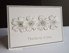 Thinking of you card - pansies - flower shop - Stampin' Up! - Just Spiffing by Fiona Bradley