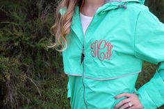 Monogrammed Rain Coat with Monogram on Chest and Hood. Perfect rain jacket for rainy days in the spring and fall! Great for outdoor game days!