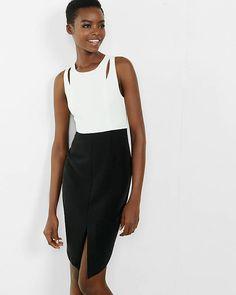 Color Block Cut Out Midi Sheath Dress   Express