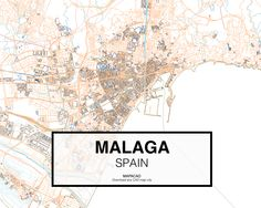 Malaga - Spain. Download CAD Map city in dwg ready to use in Autocad. www.mapacad.com Autocad, Malaga Spain, City Maps, Design, Maps, Cartography, Cities, Interiors