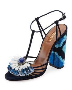 Aquazurra Samba Raffia T-Strap 105mm Sandal, Blue