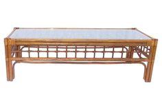 Large Lattice Bamboo Coffee Table