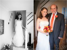 Bride walking down the stairs & with Dad
