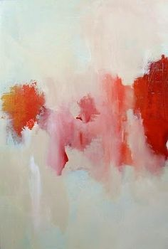 pink & red abstract painting