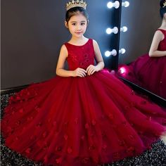 High Quality Wine Girls Piano Performance Dress Newest Design Girl Clothes Party Prom Dress Sleeveless Kids Dresses For Girl Gowns For Girls, Frocks For Girls, Little Girl Dresses, Girls Dresses, Prom Party Dresses, Birthday Dresses, Prom Dress, Wedding Dresses, Pretty Dresses For Kids