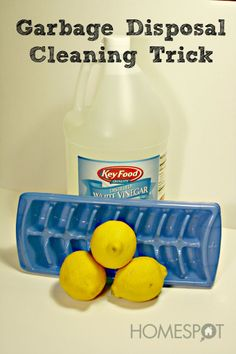Drop vinegar and lemon ice cubes into the garbage disposal and grind them up to clean out debris and sharpen the blades.