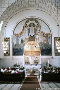 Otto Wagner: Church AM Steinhof, Vienna. Alter and art detail.