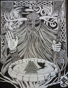 Odin (don't think he had horns, but cool picture!)