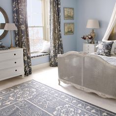 FLORAL MARTAGON curtains and cushions in pigeon greay
