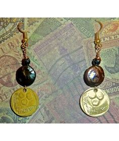 VINTAGE ISRAEL 5 AGOROT WITH COIN PEARLS AND HEMATITE  http://www.thesoulshoppe.com/earrings/1253-vintage-israel-5-agorot-with-coin-pearls-and-hematite.html