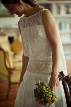 Novia estilo Helenico en tull de seda ;Ines