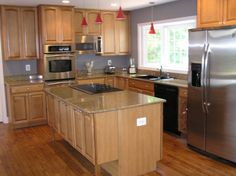 Decorations, Stunning Kitchen Remodeling Ideas With Counter Depth Fridge L Shaped Light Wood Kitchen Cabinet With Granite Countertop White Kitchen Window Over Sink Small Red Pendant Lights Light Wood Kitchen Island With Black Cooktop: Best Tips And Advice of Kitchen Remodeling for Your Home