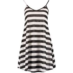 Boohoo Camila Striped Strappy Beach Swing Dress ($8) ❤ liked on Polyvore featuring dresses, swing dress, trapeze dress, beach dress, tent dress and strap dress