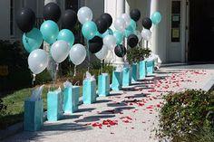 Tiffany bags & balloons entrance