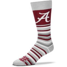 For Bare Feet University of Alabama Lotta Stripe Thin Knee High Dress Socks (Red Medium, Size One Size) - NCAA Licensed Product, NCAA Novelty at Ac...
