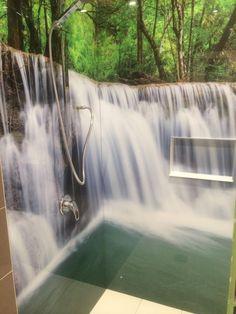 grafické sklo - sprcha