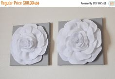 "SALE TWO Rose Wall Hangings -White Rose on Solid Light Gray 12 x12"" Canvases Wall Art- 3D Felt Flower"