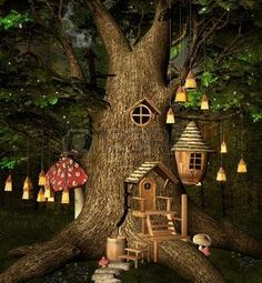 Newest Images Fairy Garden tree Style Making a whimsical garden with the wee folks requires imagination and creativity. Fairy Tree Houses, Fairy Garden Houses, Gnome Garden, Garden Trees, Garden Tree House, Fairy Doors On Trees, Fairy Garden Doors, Garden Crafts, Garden Projects