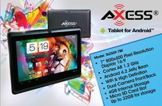"AXESS TA2509-7BK 7"" Tablet with Android 4.1 Jelly Bean OS, 1.2 GHz Cortex A8, 4Gb Storage with microSD Card Slot..."