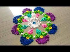 How to make rangoli designs for FESTIVAL'S /easy,small,quick & simple rangoli design by jyoti Rathod Indian Rangoli Designs, Rangoli Designs Latest, Rangoli Designs Flower, Latest Rangoli, Rangoli Designs Images, Mehndi Images, Beautiful Rangoli Designs, Rangoli Borders, Rangoli Patterns