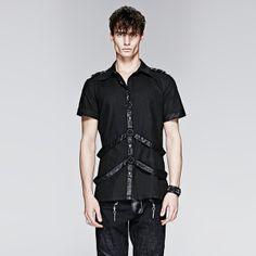 Punk Man Short Shirt com Leather Loops (Y-575)