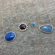 """""""Middle of the  week blues #agate #sapphire #opal #doublet #necklace #diamonds #gold #color #inspiration #love #happy #holiday @jenkpix"""""""