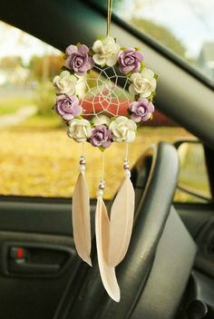A personal favorite from my Etsy shop https://www.etsy.com/ca/listing/472292318/purple-and-white-car-dreamcatcher-boho