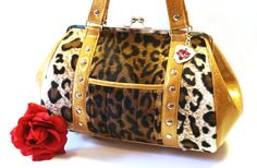 Leopard Rockabilly Purse Faux Fur and Gold by HOLDFASThandbags, $140.00