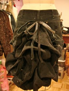 Carpenter bustle skirt made from 2 pairs of work pants...