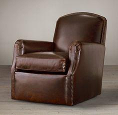 $2055 Keaton Leather Club Swivel Chair