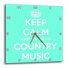 EvaDane  Funny Quotes  Keep calm and listen to country music Turquoise and White  10x10 Wall Clock dpp_173403_1 * Want to know more, click on the image.