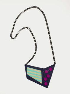 Handmade polymer clay fashion statement bib geometric minimal necklace by DesignsbyLimeLight on Etsy