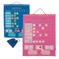 Fabric Reward Chart - Positive Parenting at its most colourful and gorgeous!  Encourage best behaviour and helping out at home with this marvellously interactive star chart.  Features: Includes over 60 pieces.