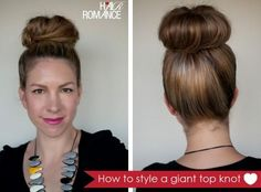 DIY Halloween Hair : DIY style a giant top knot when you donâ??t have a lot of hair