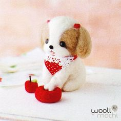 Cute Shih Tzu Puppy with Apple Bowl  Bone Needle by WooliMochi, $19.00 Love Your Dog? Visit our website NOW!