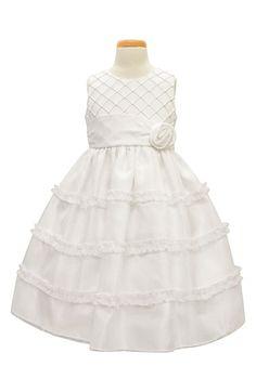 Sorbet Diamond Pleated Satin & Organza Dress (Toddler Girls & Little…