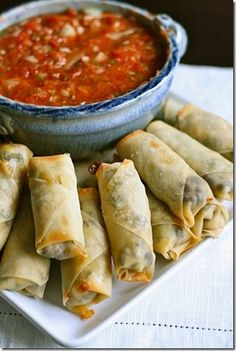 Baked Southwestern Egg Rolls  #appetizers #recipe #party